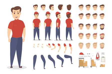 Handsome male courier character set for animation with various views, hairstyles, emotions, poses and gestures. Different equipment such as bag, boxes and clipboard. Isolated vector illustration