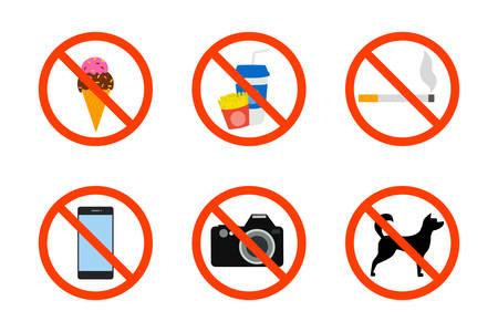 Verbot-Icon-Set. Essen, Kamera und Tiere sind verboten. Rauchverbotsschild. Warnsymbol. Isolierte flache Vektorillustration
