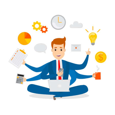 Multitasking businessman. Effective and successful office worker. Happy talented man busy doing many things at once. Isolated vector flat illustration Illustration