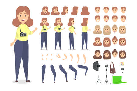 Pretty female photographer character set for animation with various views, hairstyles, emotions, poses and gestures. Different equipment such as camera and softbox. Isolated vector illustration Çizim