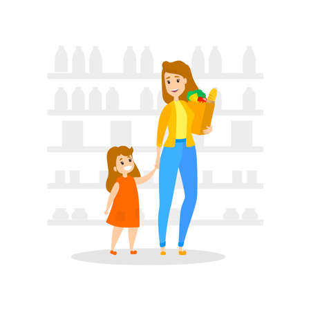 Woman in supermarket with byuing bakery, fruits, vegetables and other food. Family in the grocery store. Little girl with mother. Isolated flat vector illustration