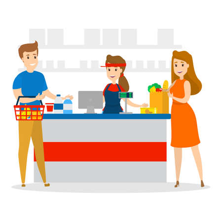 People in the grocery store stand at the cashier and pay for the food using credit card. Smiling sales woman at the counter. Isolated flat vector illustration