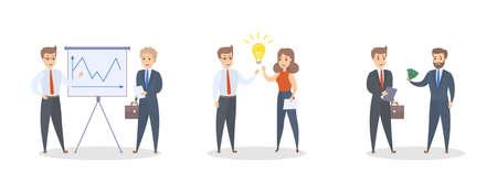 Conjunto de gente de negocios inteligente trabajando juntos. Trabajo en equipo y lluvia de ideas. Cooperación exitosa. Ilustración de vector plano aislado
