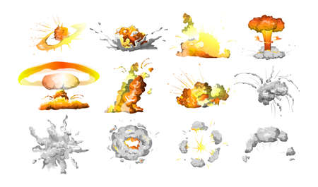 Set of bomb explosion. Fire and clouds of smoke. Boom effect. Isolated vector illustration  イラスト・ベクター素材