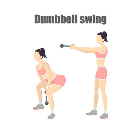 Woman doing dumbbell swing exercise