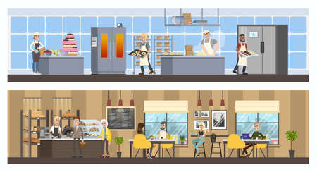 Bakery interior with cafe and kitchen. Shop counter with showcase full of baked goods. Cooks in uniform making tasty bread. Vector flat illustration Stock Illustratie