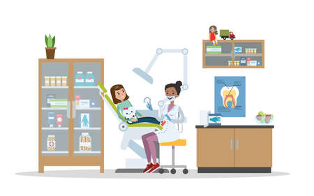 Dental clinic interior. Little child visiting the dentist with toothache. Healthcare and oral hygiene. Isolated flat vector illustration Vetores