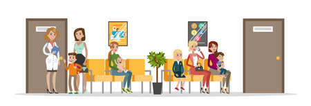 Waiting room in children hospital. Mothers and their kids waiting in queue for medical consultation. Clinic interior. Isolated vector flat illustration