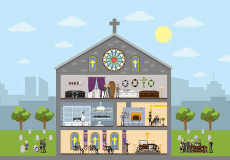 Funeral service building interior. Cemetery and crematory. People in black clothes crying at the memorial ceremony in the church. Isolated vector flat illustration