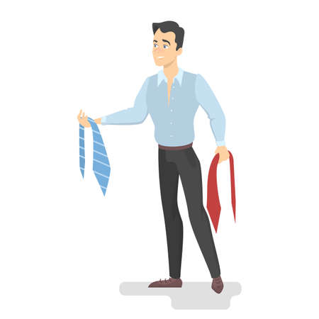 Man choosing neck tie. Difficult choise. Handsome male character holding ties in doubt. Isolated vector illustration in cartoon style