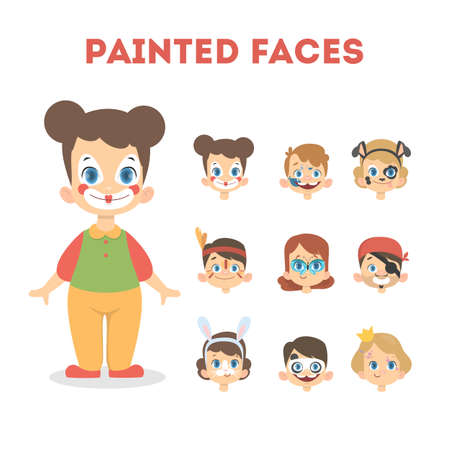 Set of happy children portraits with painted faces. Clown costume for girls and facial masks for halloween party: princess, panda, bunny and pirate. Isolated vector illustration in cartoon style Illustration