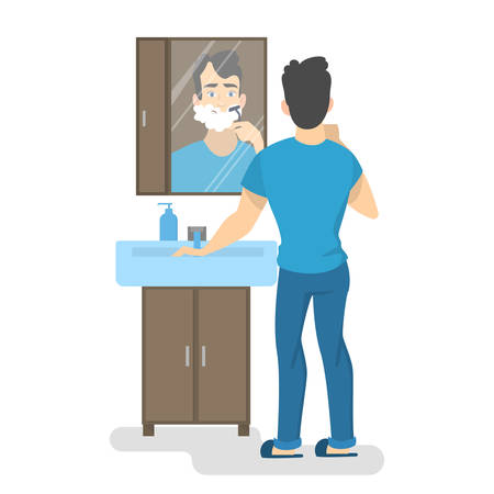 Man shaving his beard with razor in bathroom in front of the mirror. Morning routine and skin care. Isolated vector illustration in cartoon style Vettoriali