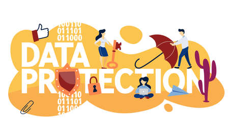 Data protection concept. Idea of safety and security while using computer. Digital information access. Isolated flat vector illustration