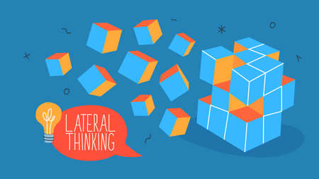 Lateral thinking concept. Innovation and technology. Solving problems in unique way. Creative mind full of ideas. Isolated line vector illustration