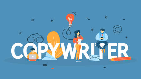 Copywriter concept. Writing creative article in blog. Social media promotion. Freelance work. Flat vector illustration Illusztráció