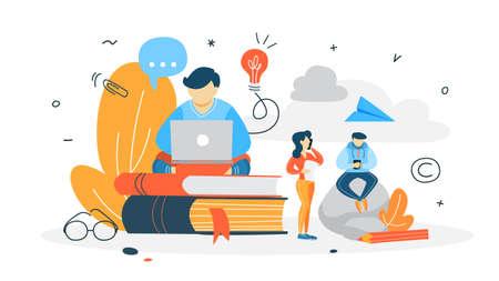 Concepto de redactor. Redacción de artículos creativos en blog. Promoción en redes sociales. Trabajo independiente. Ilustración vectorial plana Ilustración de vector
