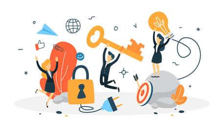 Notion d'accès. Protection des données et confidentialité des informations personnelles sur Internet. Illustration vectorielle plane isolée Vecteurs
