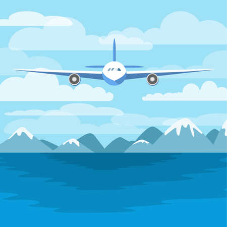 Aircraft flying above the sea. Airplane in the sky and mountains on the background. Flight above the ocean. Flat vector illustration