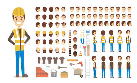 Cute male builder character in uniform set for animation with various views, hairstyles, face emotions, poses and equipment. Isolated vector illustration 스톡 콘텐츠 - 112234872