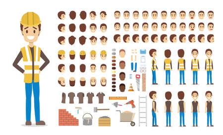 Personnage de constructeur masculin mignon en uniforme pour l'animation avec diverses vues, coiffures, émotions du visage, poses et équipement. Illustration vectorielle isolée Vecteurs