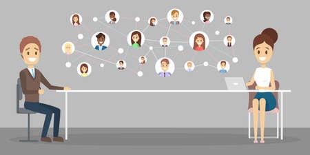 Entrevista de trabajo online. Gerente de recursos humanos que busca un candidato para un puesto de trabajo en internet Concepto de contratación. Ilustración vectorial plana