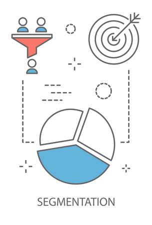 Notion de segmentation. Idée de public cible et de promotion commerciale. Choisir un groupe de personnes comme clients potentiels. Icône de ligne sertie de camembert. Illustration vectorielle isolé