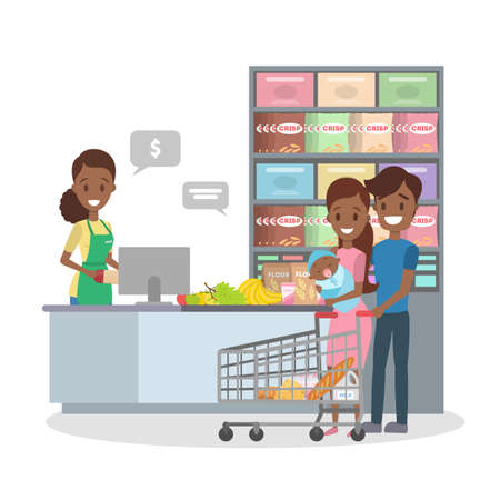 African american people in the grocery store stand at the cashier and pay for the food using credit card. Smiling salesman at the counter. Isolated flat vector illustration