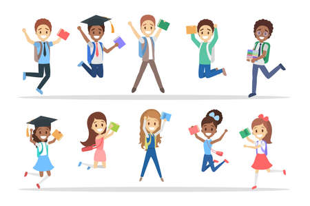 Set of cute little jumping school kids. Group of happy boys and girls with bags and books having fun. Isolated flat vector illustration