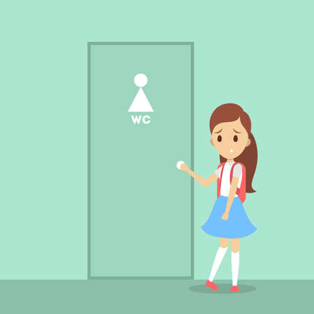 Stressed girl wants to pee. Female character with a full bladder standing at the closed WC door. Flat vector illustration Ilustração