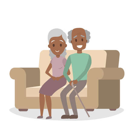 Old african american couple sitting on the couch. Happy grandfather and grandmother at home. Isolated vector illustration
