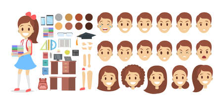 School kid character set for animation