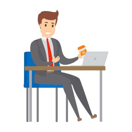 Businessman working at the desk on the computer. Busy office worker with cup of coffee.