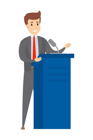 Orator speaking from the tribune. Handsome politician giving a speech. Press conference concept. Isolated vector illustration