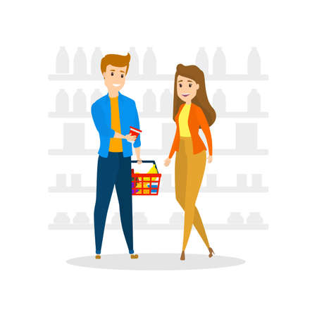 Young couple in supermarket byuing bakery, fruits, vegetables and other food. Family in the grocery store. Isolated flat vector illustration