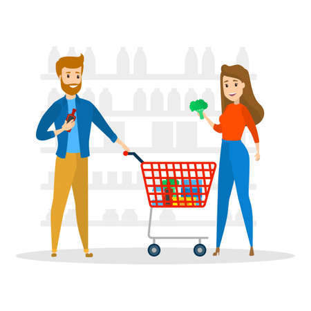 Young couple in supermarket byuing bakery, fruits, vegetables and other food. Family in the grocery store. Woman holding broccoli. Isolated flat vector illustration