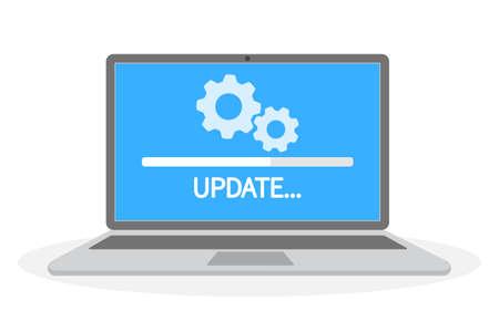 Actualización del software del sistema en la computadora. Instalación del programa en curso. Ilustración de vector plano aislado