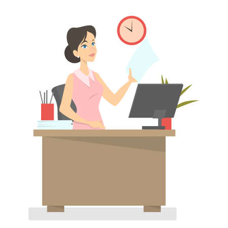 Young business woman or office worker sitting at the desk holding paper. Female secretary working on the computer. Isolated vector illustration in cartoon style