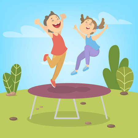 Young boy and girl jumping on trampoline. Summer activity. Happy kids have fun. Vector illustration in cartoon style