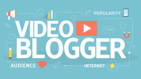 Video blogger concept. Sharing content in the internet. Communication through social media. Using modern technology for business promotion. Flat vector illustration