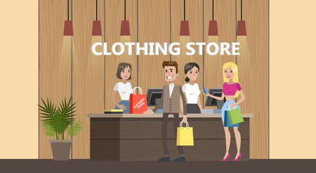 Happy people standing at the counter in the clothing store and bying clothes. Beautiful cashier in fashion boutique. Vector flat illustration Ilustracje wektorowe