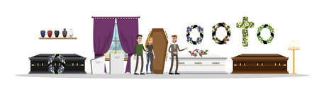 Funeral service interior. Sad couple choosing coffin. Funeral wreaths, tombstones and candles. Vector flat illustration