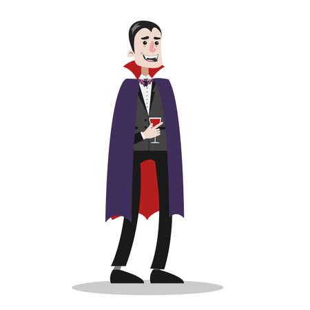 Hübscher Mann, der in einem Halloween-Vampir- oder Dracula-Kostüm steht. Horror Gothic Outfit. Isolierte flache Illustration des Vektors