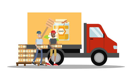 Big truck with honey. Smiling men carrying wooden boxes with honey to the vehicle. Isolated vector flat illustration