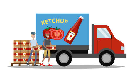 Big truck full of ketchup bottles. Ketchup manufacture. Workers carrying boxes with bottles to the vehicle. Fast delivery. Isolated vector flat illustration