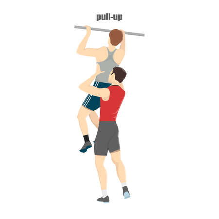 Man doing pull ups in the gym. Fitness trainer helps guy. Arm workout and muscle building. Healthy and active lifestyle. Isolated vector illustration