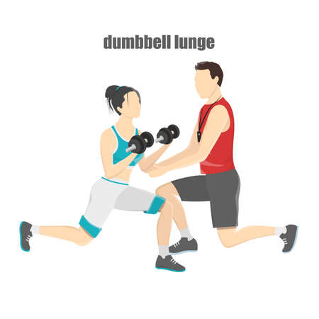 Woman making lunges with dumbbells Stock Vector - 105864027