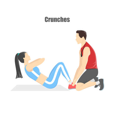Woman doing crunches in the gym