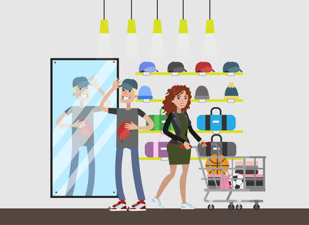 Sports store with visitors. Young man choosing sport cap. Different hats on the shelves. Isolated vector flat illustration