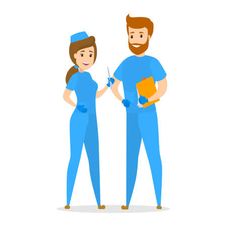 Nurse couple standing in blue uniform. Smiling medicine workers. Isolated flat vector illustration