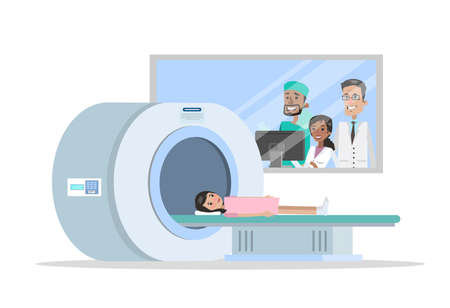 MRI process. Young girl lying in the MRI machine. Doctor making magnetic resonance imaging. Medical observation and healthcare. Vector flat illustration
